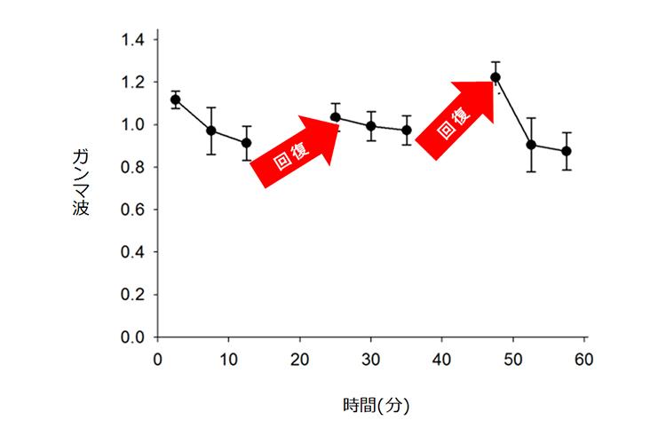 休みながら45分間勉強した生徒のガンマ波の変化