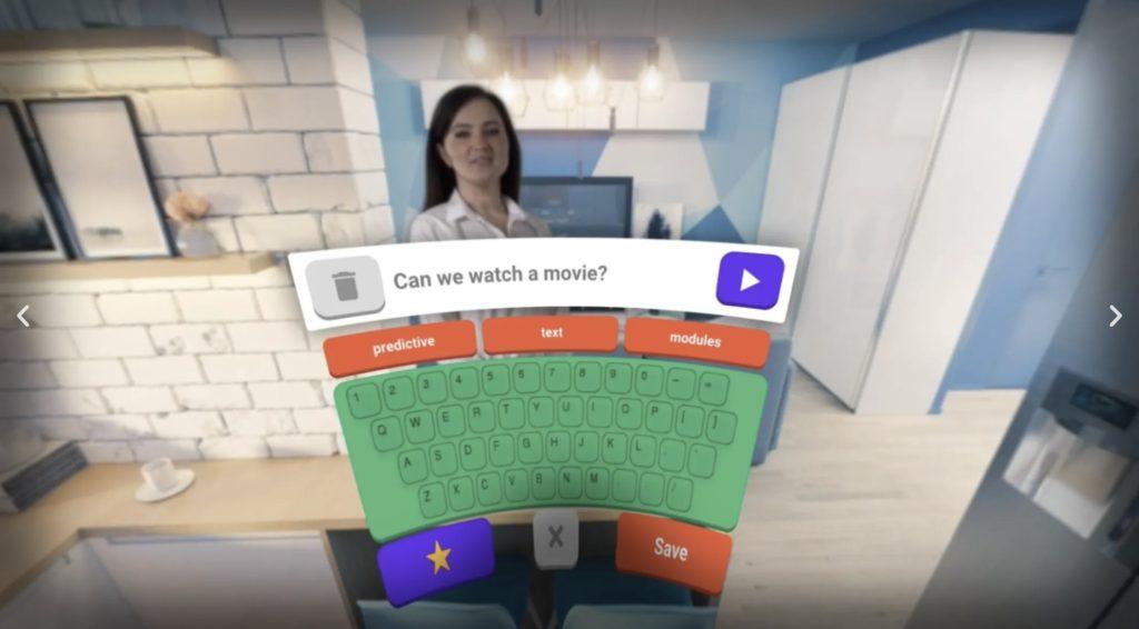 Cognixionのヘッドセットを装着すると表示されるキーボード